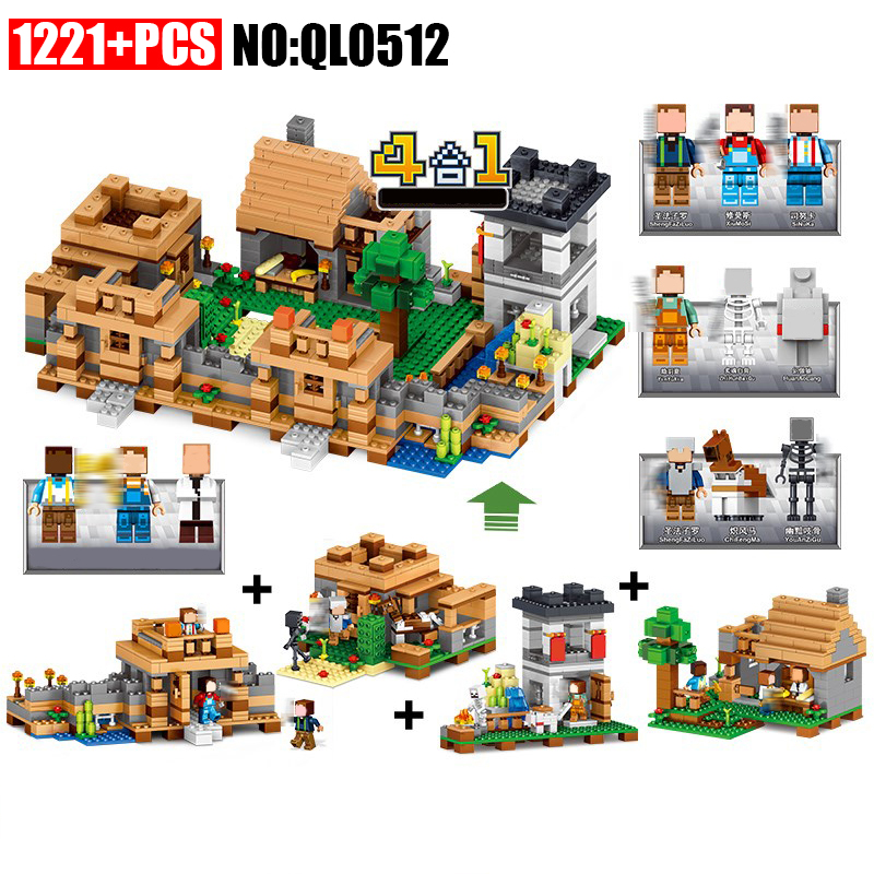 AIBOULLY QL0512 Toys MY WORLD 4 In 1 Dream Village Mini Building Blocks Minecrafted City Educantion Toy For Children Kids loz mini diamond block world famous architecture financial center swfc shangha china city nanoblock model brick educational toys