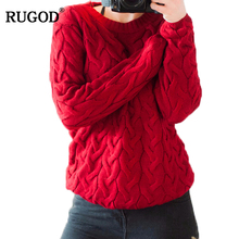 RUGOD Women Autumn&Winter Solid Knitted Sweaters Pullovers Female Tops Long Sleeve Jumper Sweater Pull Femme Christmas Sweater