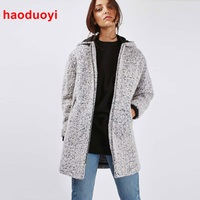 HDY Haoduoyi Fashion Warm Winter Coat Women White Wool Parka Simple Style Casual Outerwear Pockets Hooded
