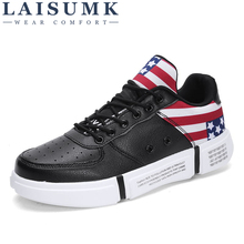 LAISUMK Men Sneakers High Quality Breathable Shoes Top Male Walking Zapatillas Hombre Gym PU Leather New