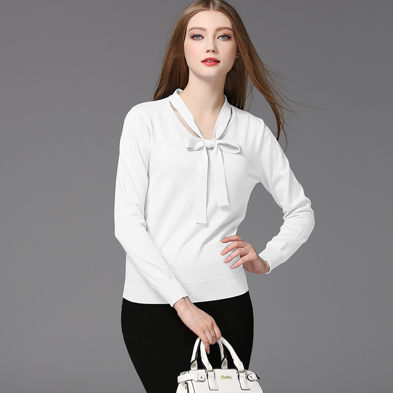 Blue Female Cotton neck New Women's O white Wholesale Pullover Knitted Bow Autumn Europe Fashion Spring Modal Loose Long Sleeve Sweater 6w1WUg