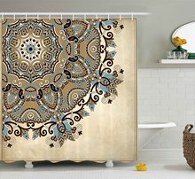 Mandala Shower Curtain Ethnic Indian Flower Circle On Lace Ornaments Traditional Boho Design Fabric Bathroom Decor