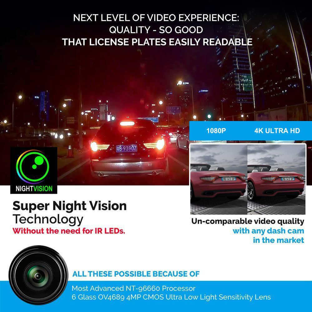 Azdome Mobil DVR Dash Cam GS63H 4K Dibangun Di Kecepatan GPS Koordinat WiFi Dual Lensa Mobil Kamera Dash Kamera malam Visi Dashcam