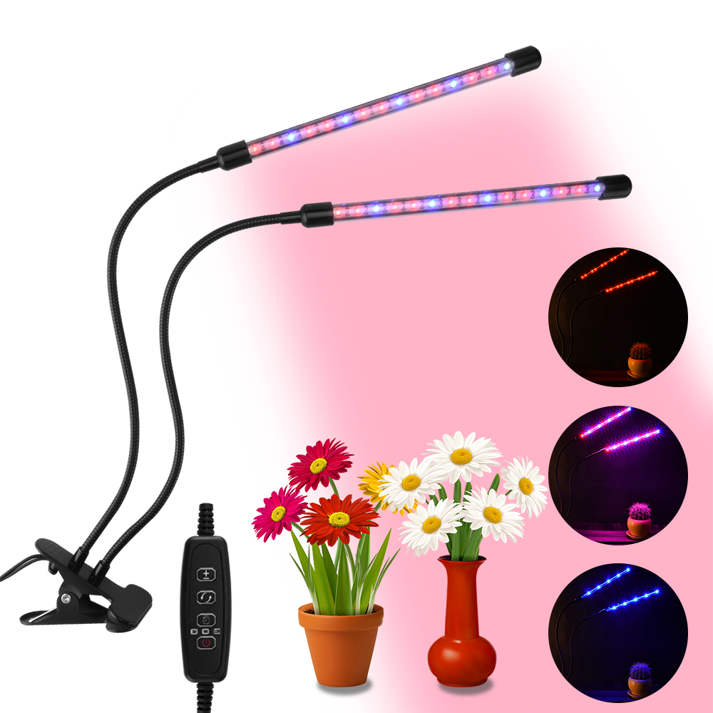 3/6/12H Timer Plant Grow Light Grow Light 3 Switch Modes Red/Blue Spectrum Dimmable Plant Grow Lamp Dual Head Plant Grow Lights