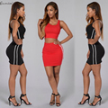 Gamiss Womens Two Pieces Set Summer Round Neck Sexy Crop Top Hip Package Short Skirt Tracksuit Feminino Track Suit 2 Piece