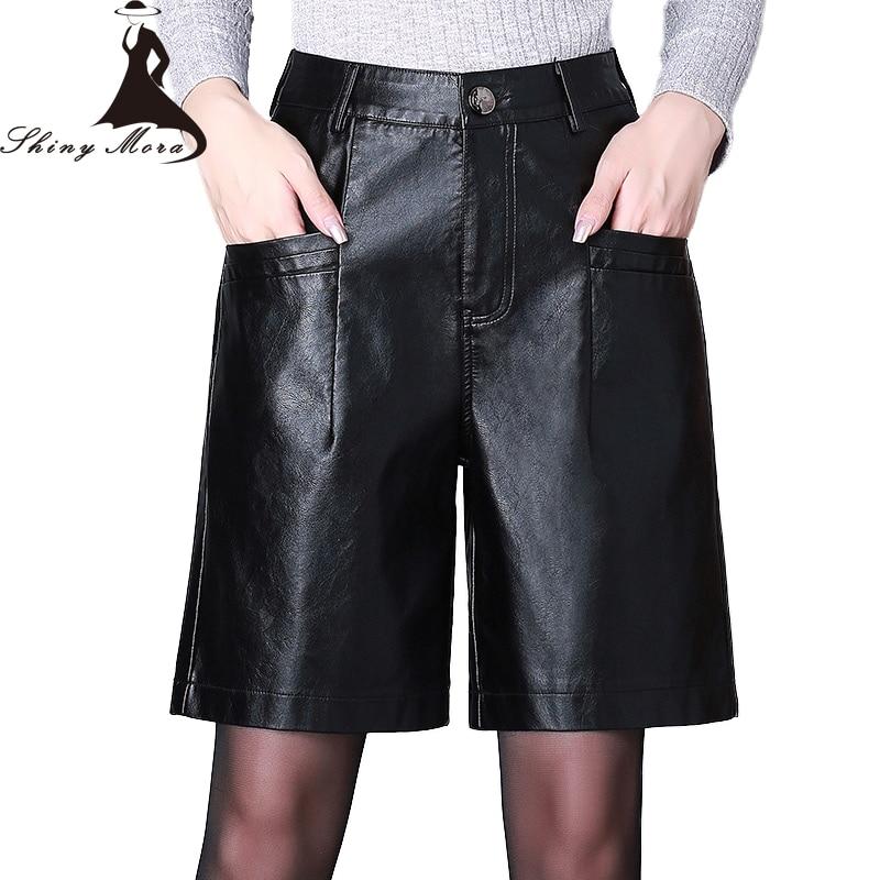 SHINYMORA 2019 Spring PU   Shorts   for Women Casual Leather   Shorts   Pockets High Waist Female Sexy Fashion Big Size Black   Shorts