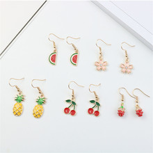 Korean Cute Cartoon Cherry Pineapple Bear Rabbit Bunny Chick Woman Girls Hook Dangle Drop Earrings Fashion Jewelry-LAF
