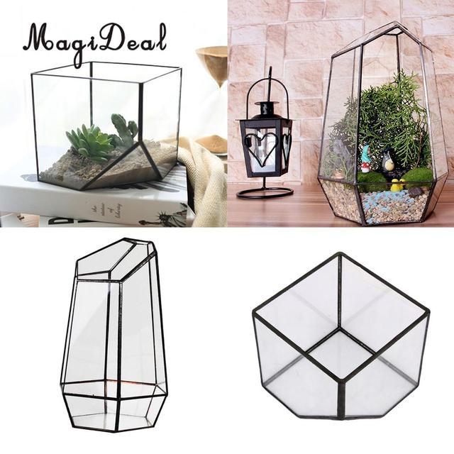 Set Von 2 Glas Terrarium Hexagonal Und Cube Form Miniatur Garten