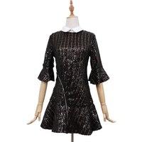 מעצבי אופנה 2018 מסלול שמלה שחורה רקמת פאייטים תחרה צווארון תורו למטה אלגנטי חצי שרוול קפלי שמלת מיני OM210