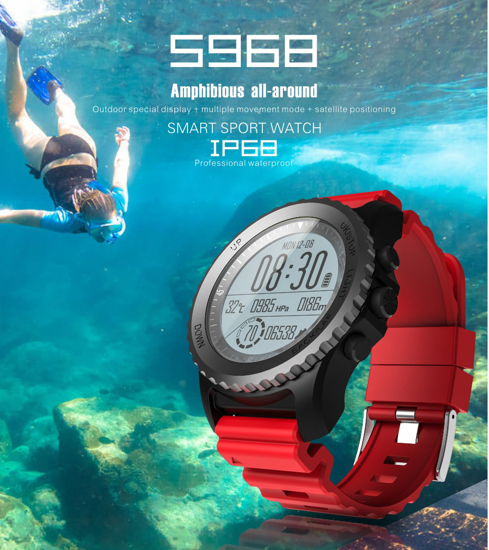 Professional GPS Smart Watch Female Male Support Heart Rate Altitude Meter Thermometer Run Ball Swim Diving Cycling Speed Watch