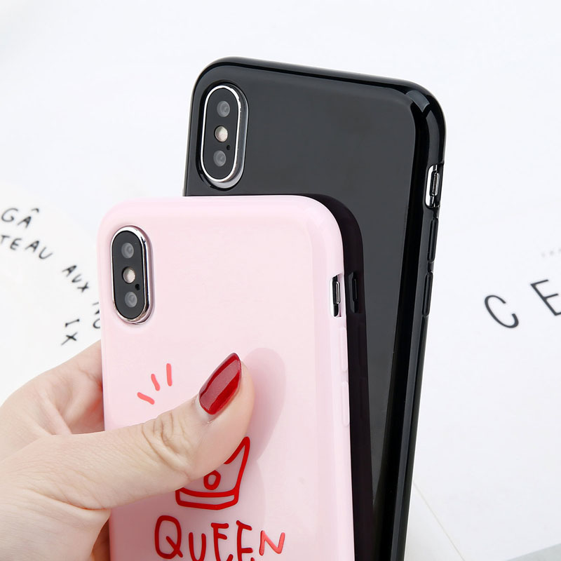 Glossy Crown Phone Case For iPhone 6, 6s Plus, iPhonee X, 8, 7, 6S 5