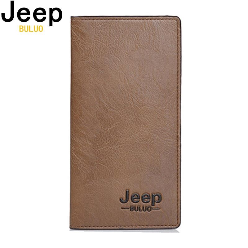JEEP BULUO Brieftasche Herren Leder Herren Brieftaschen Business Brand Card Inhaber Geldbörse Herren Lange Brieftasche Clutch carteira masculina 8068