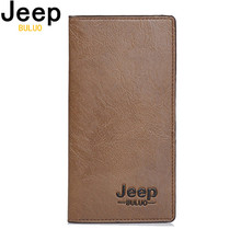 цена на JEEP BULUO Wallet Men Leather Men Wallets Business Brand Card holder Coin Purse Men's Long Wallet Clutch carteira masculina 8068