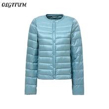 Women Ultra Light Duck Down Jacket 2019 Winter New Round Neck Slim Coat Portable Jacket Single-Breas