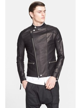 Free Shipping Brand Soft Italy Fetal Bovine Skin Leather Jackets