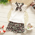 2016 Девушки Baby Set Top Футболка, Шорты, Пояса 3 штук Брюки Цветочный Воротник Цветы Перл Летняя Мода детские Костюмы одежда