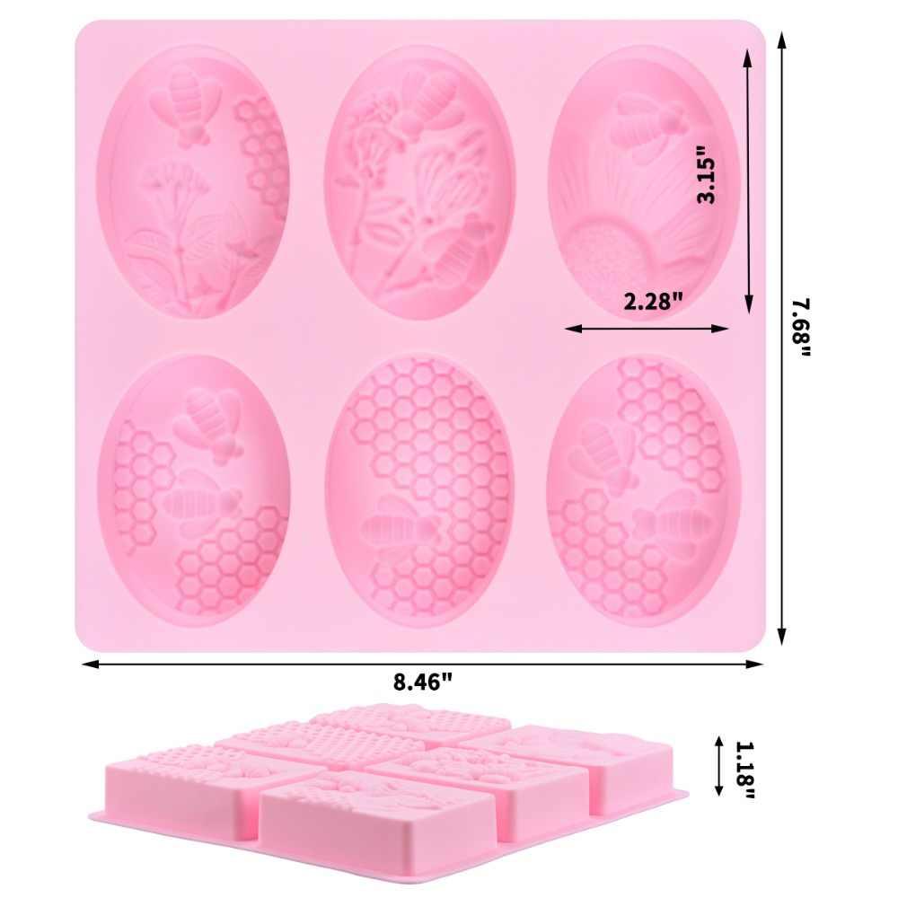 SILIKOLOVE 2 Pcs Honeycomb รูปร่างซิลิโคนแม่พิมพ์สบู่ทำด้วยมือสำหรับทำสบู่รูปแบบ 3d Craft รูปไข่และรูปสี่เหลี่ยมผืนผ้า, งานแต่งงาน