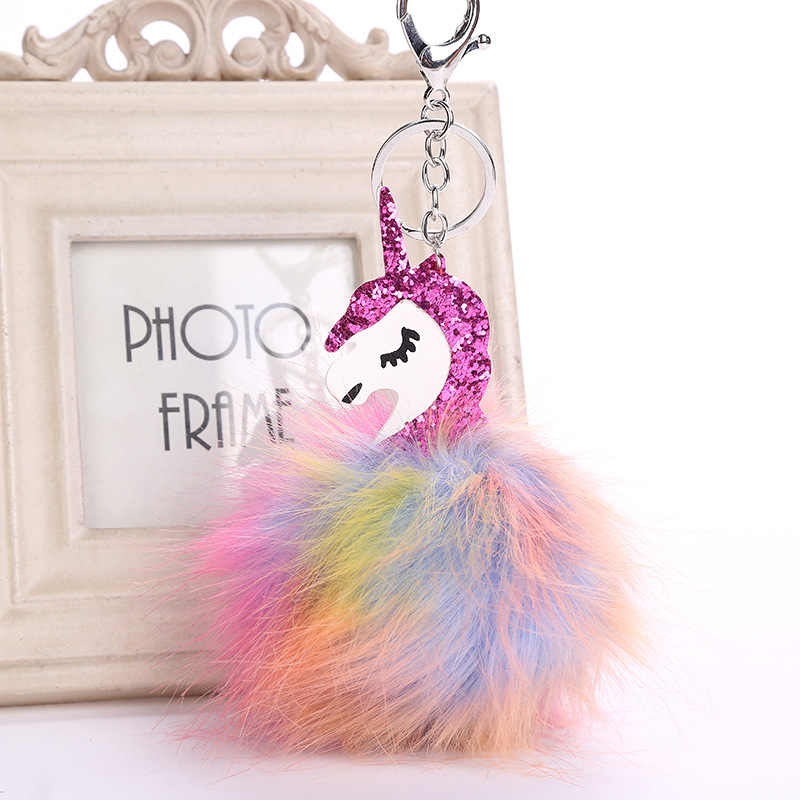 DROPSHIPPING Multi-color  Fluffy Unicorn Pompom Faux Rabbit Fur Key Bag Chain Bag Ring Best Gifts For Girl Ladies Unicorn  toy wholesale cheap new cute fluffy keychain faux rabbit fur ball key chains bag backpacks charms trinket car key ring accessories