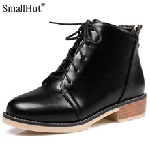 Low Heel Boots Women Autumn Winter 2019 Cross-tied Ladies Square Heels E123 Fashion Woman Gold Silver Black Round Toe Boots prova perfetto winter fashion silver ankle boots women cross tied real leather high heel boots square toe zapatos mujer boots