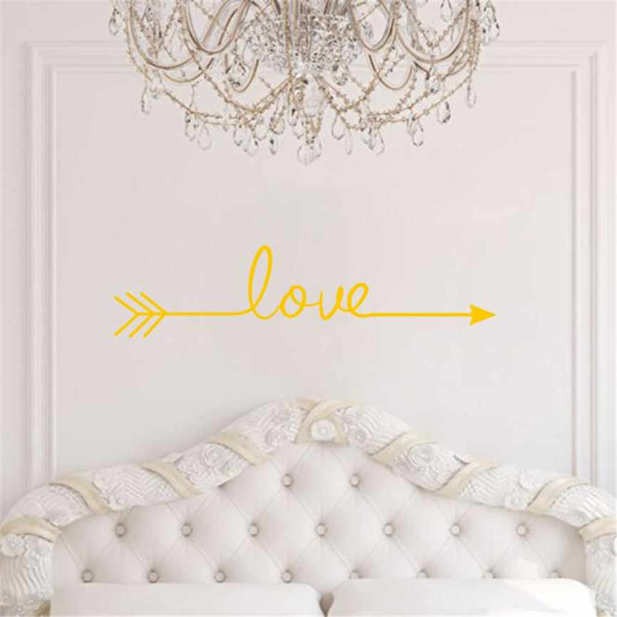 2017 高品質の愛矢印デカールリビングルーム寝室ビニール壁デカールステッカー家の装飾のため @