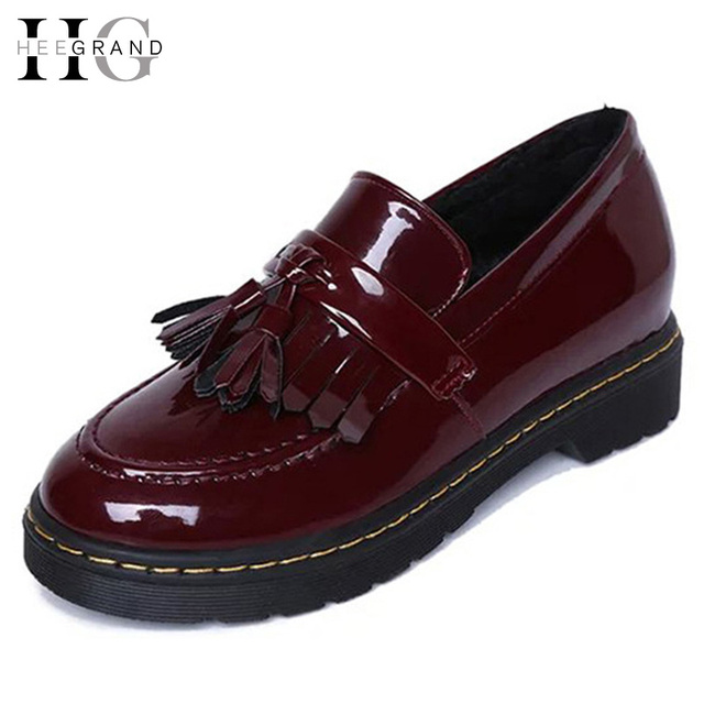 Oxfords Flat Shoes Woman 2016 Spring Vintage Patent Leather Tassel Platform Shoes Slip On Creepers Zapatos Mujer XWD3266