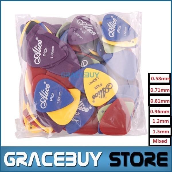 100 pcs אליס יחיד/רב עובי גיטרה מבחר מפרט מגוון צבעים Guitarra Puas Palheta כלי נגינה 28