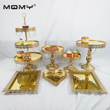 New Set Gold Wedding Dessert Tray Cake Stand Cupcake Pan Display Table Decoration Party Supply 7PCS /