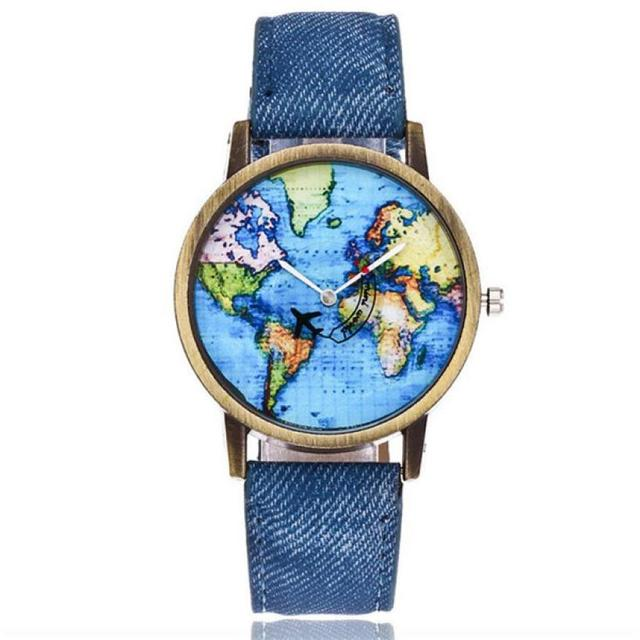 2018 New Fashion Global Travel By Plane Map Watch Gilt Digital Quartz Casual Lea