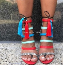New Bright Patent Leather Mixed Color Lace Up Women Tassel Fringe Designer Summer High Heel Sandals