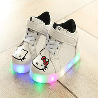 2018 European Lovely Cartoon LED Lighted Hook Loop Girls Boys Shoes High Quality Fashion Cool Toddlers