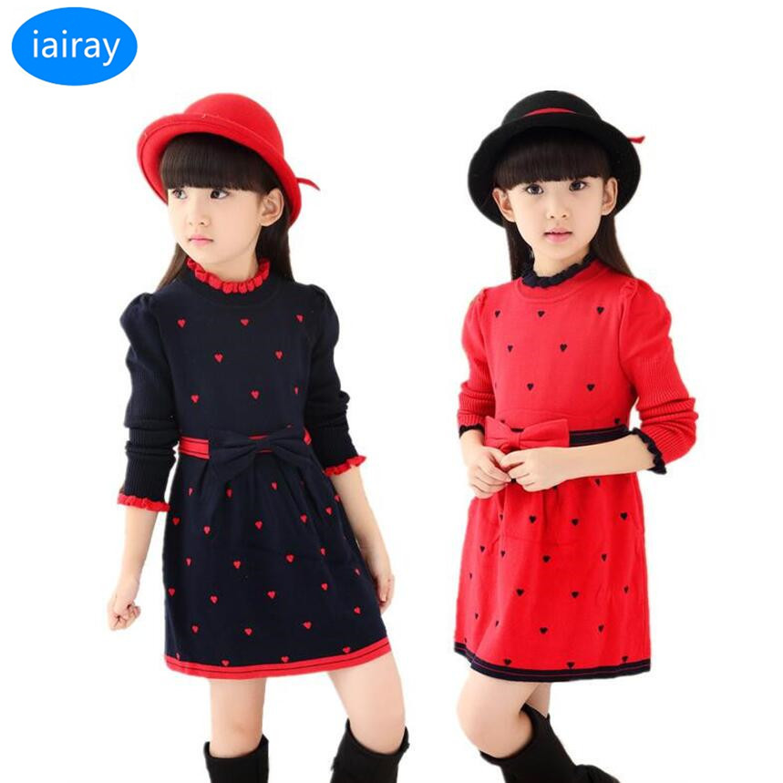 iairay girls knitted sweater dress kids autumn clothes fashion long sweater for girls cardigan jumper korean cute heart sweater dermspe 2017 new autumn winter long jumper sweater chain korean neck necklace necklace sweater accessories pendant