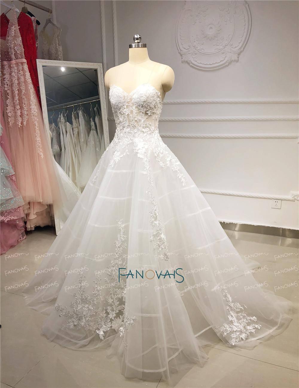 Image 3 - Unique Wedding Dresses 2019 Sweetehart A Line Lace Wedding Gown Boho Sheer Bridal Dress Wedding Vestido de Novia 2019 NW43Wedding Dresses   -