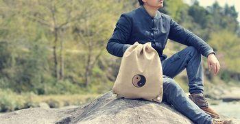 Bawełna wysokiej jakości i len niebieski khaki torby taoistyczne torby mnichów shaolin tai chi taoizm plecak torby sztuk walki tanie i dobre opinie Kung fu
