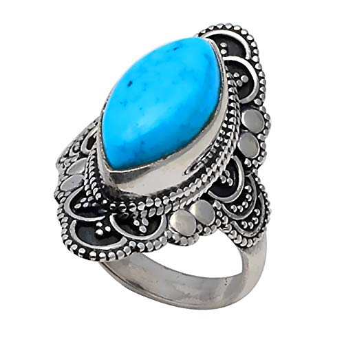 Genuine Blue Turquoise Ring 925 Sterling Silver,USA Size :6, 2SR0229Genuine Blue Turquoise Ring 925 Sterling Silver,USA Size :6, 2SR0229