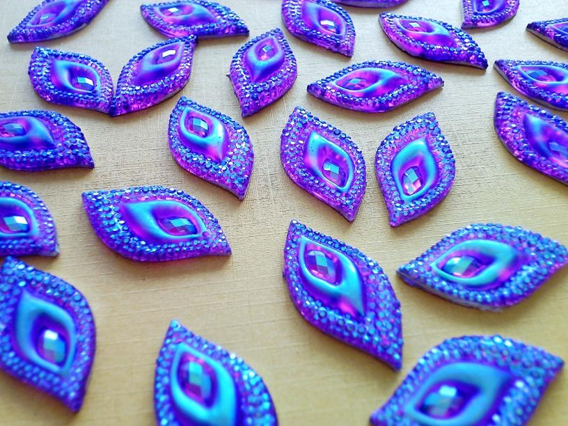 Dazzling purple AB colour crystal eye navette shape 16*30mm sew on Rhinestones gem Stones Accessores 60pcs/lot