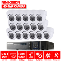 NINIVISION 16CH HD 4MP 5MP AHD DVR NVR CCTV System 16pcs indoor 4.0MP Security Cameras Dome night vision CCTV Surveillance Kit