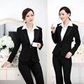 Nuevo 2015 Femininos elegante negro moda delgado negocios trajes ropa de trabajo chaqueta y pantalones para para mujer de la oficina estilo uniforme conjunto