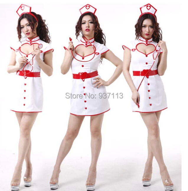 New Fashion Sexy Open Front Nurse Uniform Costume Erotic -7114