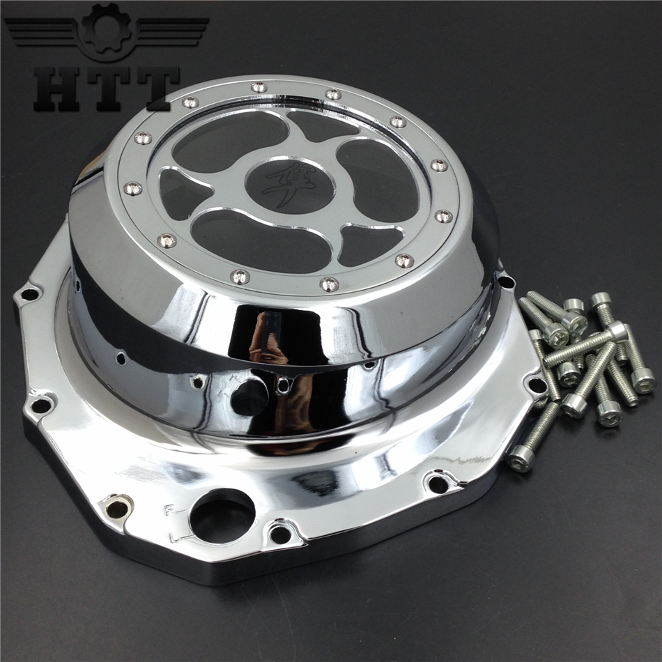 Aftermarket free shipping motorcycle parts  See through Engine Clutch Cover For Suzuki  GSX1300R Hayabusa B-king 1999-2013 CD aftermarket free shipping motorcycle parts engine stator cover for suzuki hayabusa gsx 1300r 1999 2015 left side chrome