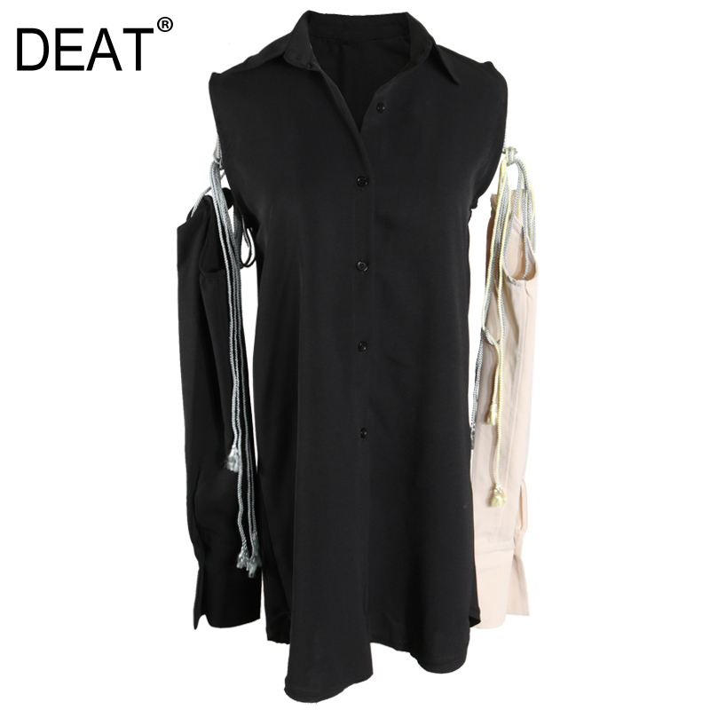 DEAT 2019 New Spring Summer Lapel Long Sleeve Black Hollow Our Bandage Personality Shirt Dress Women