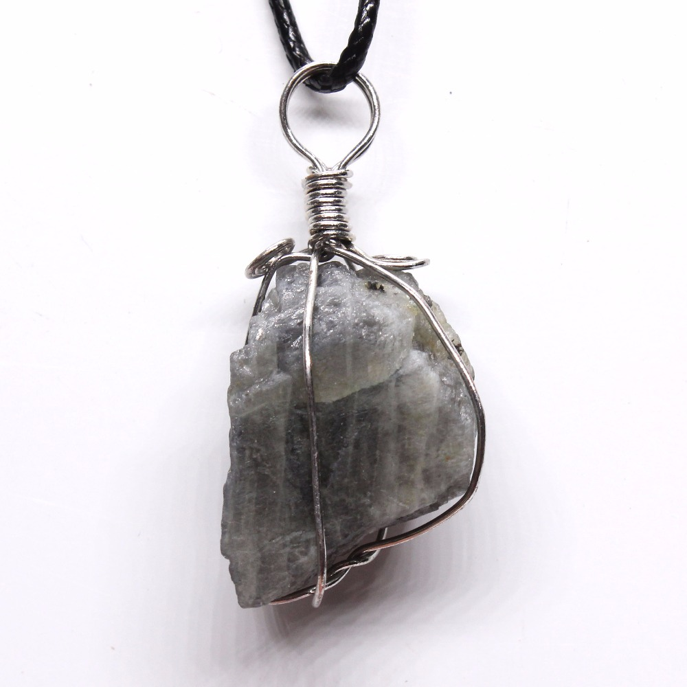 Kraft Beads Silver Plated Wire Wrap Irregular Shape Labradorite Raw Sterling Wrapped Necklace Blue Tiger Eye Stone Pendant Charm Jewelry In Pendants From Accessories On
