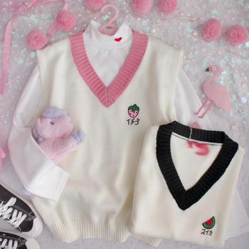 Autumn Japanese Embroidery Cute Watermelon Strawberry Pattern Girls Sweater V Neck Knit Sleeveless Women Pullover