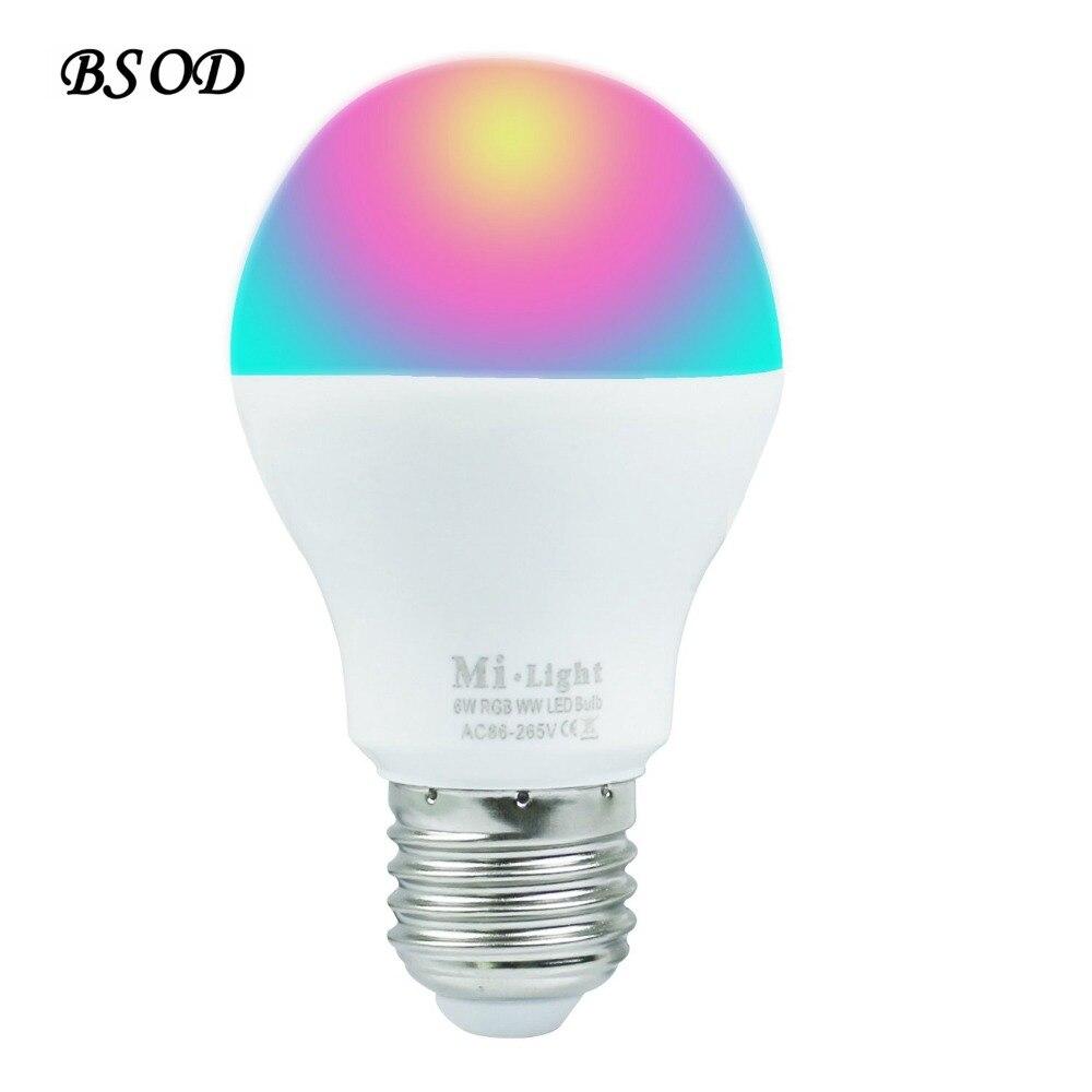 Mi Light 2.4G Wireless E27 6W Wifi  AC86-265V 400-450LM RGBW Cool White/ RGB Warm White LED Bulb Lamp цены онлайн