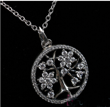a7501d4d0 Family Tree Necklace and crystal Compatible With Pandora Jewelry 100% 925 Sterling  Silver life tree charm pendant