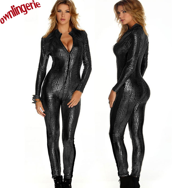 3 Color Hot Women Faux Leather Jumpsuit Snake Skin