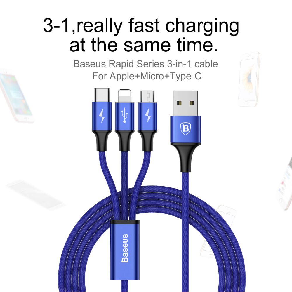 Baseus 3a 3 in 1 usb charger cable for iPhone 7 Samsung huawei xiaomi 6 sony moto LG micro type-c Android Phone Tablet Charging