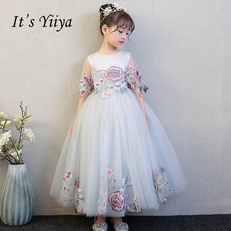 It's yiiya Zipper Quality O-neck Shawl Floor Length Kid   Flower   Child Cloth   Flower     Girl     Dresses   For Party Wedding   Girl     Dress   S106