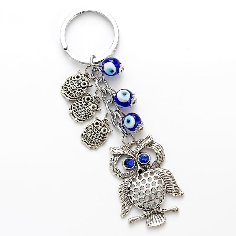 Lucky Eye Owl Keychain Evil Eye Pendent Key Chain Alloy Tassel Car Key Chain Men Women Fashion Jewelry EY4730