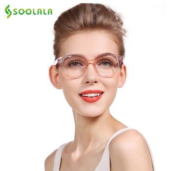 Очки для чтения SOOLALA TR90 оверсайз, женские и мужские очки с прозрачной оправой, защита от излучения, компьютерное стекло, от 0,5 до 4,0, очки для чтения при дальнозоркости