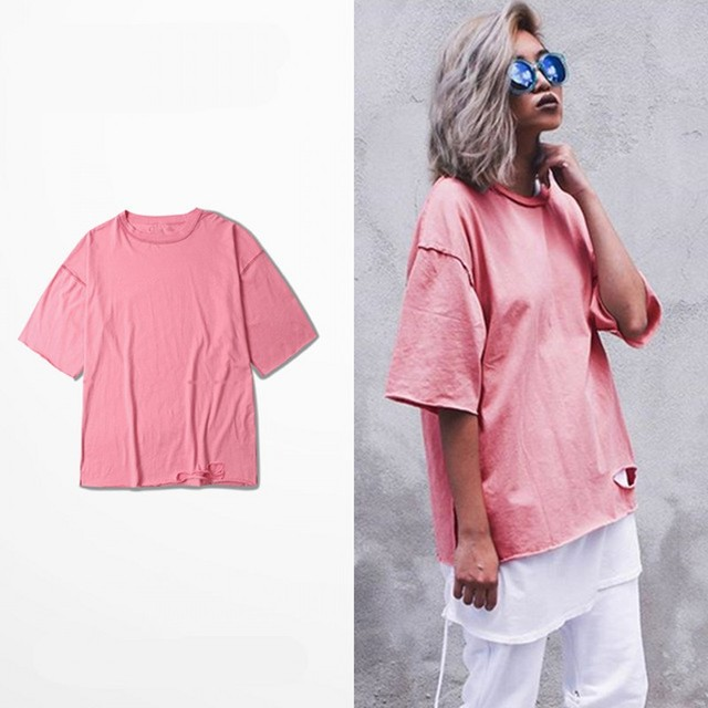Pink Loose Hole Design Simple T shirt Wild Basic Style T shirt Men ...